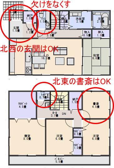 38坪4LDK北玄関の間取りの家相診断 | 家相診断